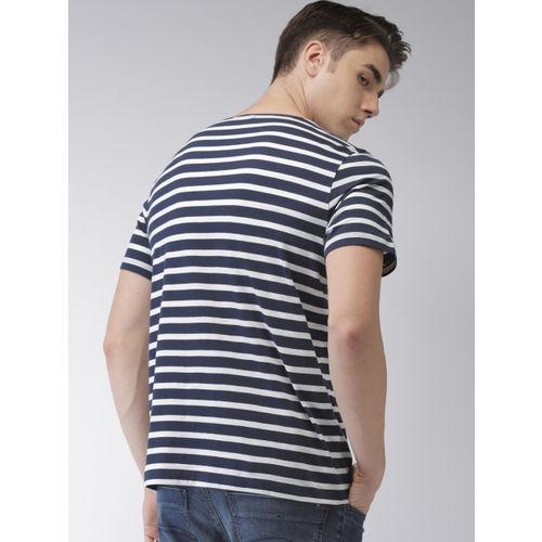 Tommy Hilfiger Men White & Navy Striped Round Neck T-shirt