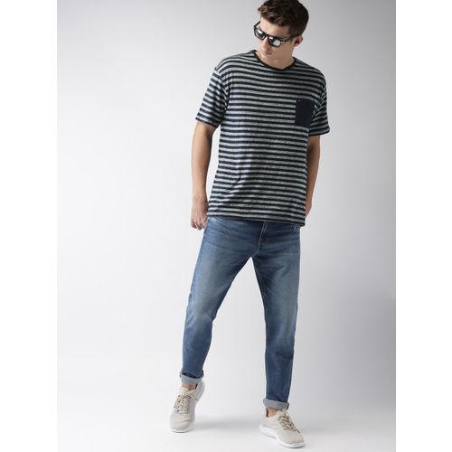 Tommy Hilfiger Men Navy & White Striped Round Neck T-shirt