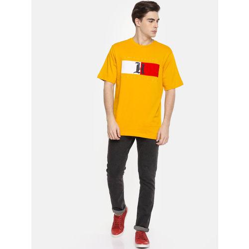 Tommy Hilfiger Men Mustard Yellow Printed Round Neck T-shirt