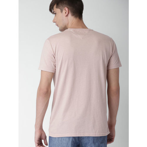 Tommy Hilfiger Men Pink Printed Round Neck T-shirt
