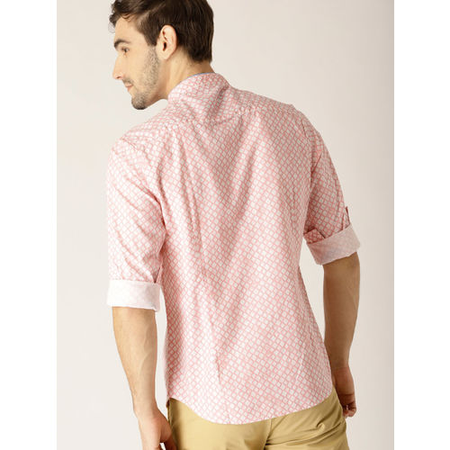 United Colors of Benetton Men Pink & White Slim Fit Printed Casual Shirt