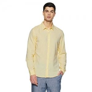United Colors of Benetton Men's Solid Slim Fit Casual Shirt (18P5MR25U008I_Yellow_M)