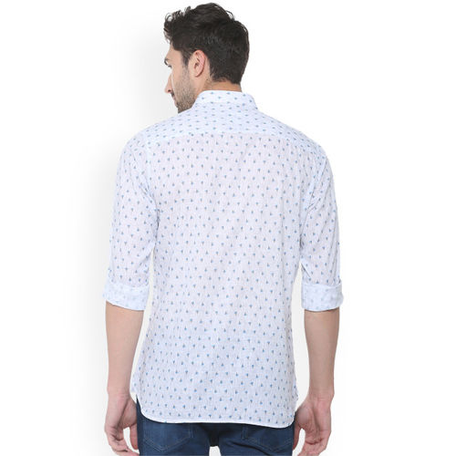 Allen Solly Men White & Blue Slim Fit Printed Casual Shirt