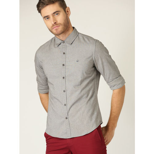 United Colors of Benetton Men Grey Slim Fit Solid Casual Shirt
