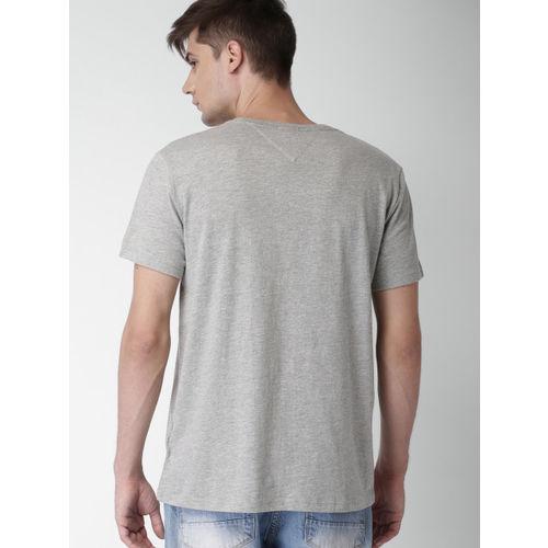 Tommy Hilfiger Men Grey Printed Round Neck T-shirt