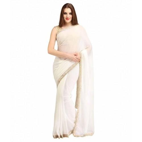 97dbcfea4 Buy EthnicAndStyle Designer Sarees White Chiffon Saree online ...