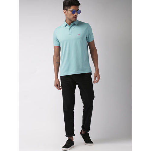 Tommy Hilfiger Men Blue Solid Polo Collar T-shirt