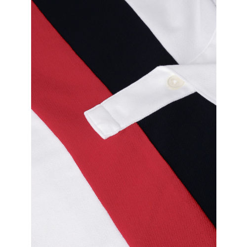 Tommy Hilfiger Men White & Red Colourblocked Polo T-shirt