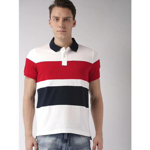 Tommy Hilfiger Men Red & Off-White Colourblocked Polo T-shirt