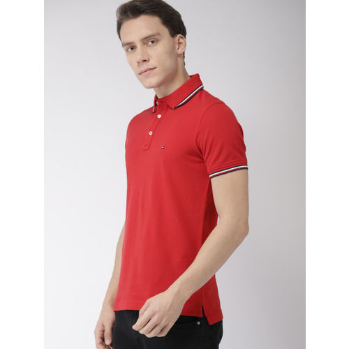 Tommy Hilfiger Men Red Solid Slim Fit Polo Collar T-shirt