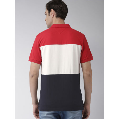 Tommy Hilfiger Men White & Navy Blue Striped Polo Collar T-shirt