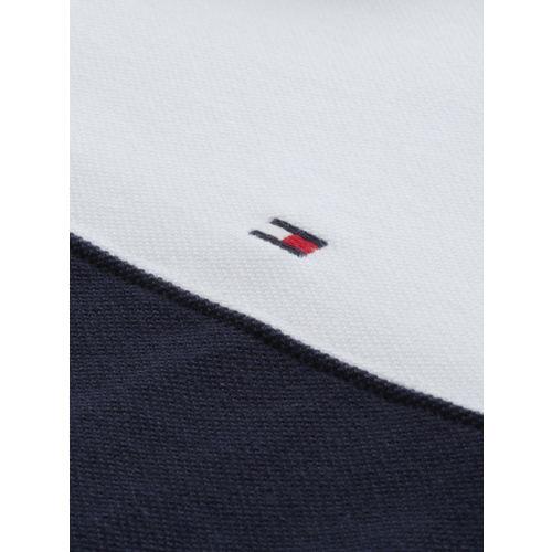 Tommy Hilfiger Men Navy & White Colourblocked Polo Collar T-shirt