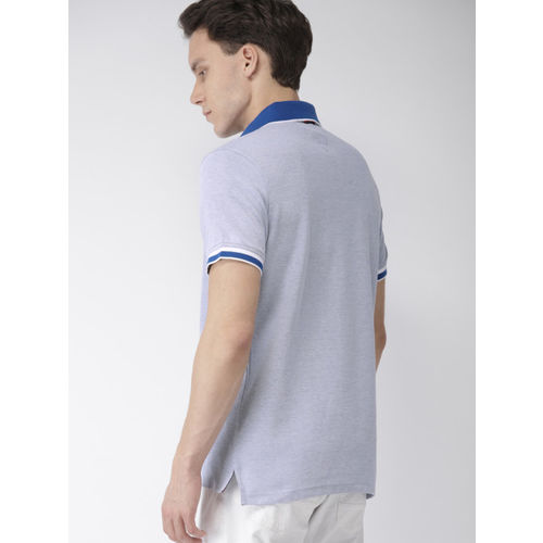 Tommy Hilfiger Men Blue Regular Fit Solid Polo Collar T-shirt
