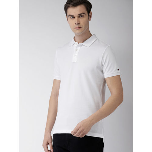 Tommy Hilfiger Men White Slim Fit Styled Back Polo Collar T-shirt