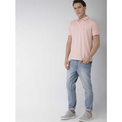 Tommy Hilfiger Men Peach-Coloured Solid Polo Collar T-shirt