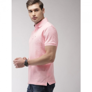 Tommy Hilfiger Men Pink Solid Polo Collar T-shirt