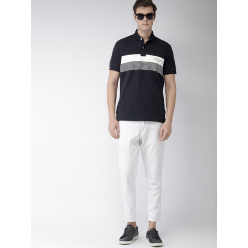 Tommy Hilfiger Men Navy Blue And White Striped Polo Collar T-shirt