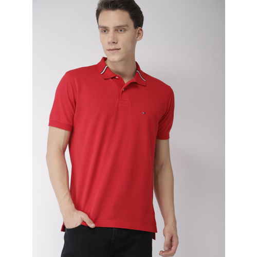 Tommy Hilfiger Men Red Regular Fit Solid Polo Collar T-shirt