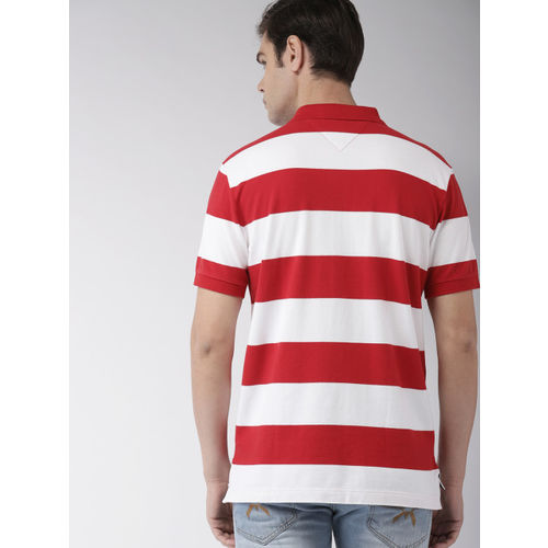 Tommy Hilfiger Men Red & White Striped Polo Collar T-shirt