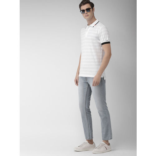 Tommy Hilfiger Men White Solid Slim Fit Polo Collar T-shirt