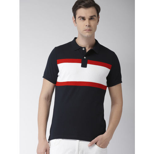 Tommy Hilfiger Men Navy Blue, Red & White Slim Fit Striped Polo Collar T-shirt