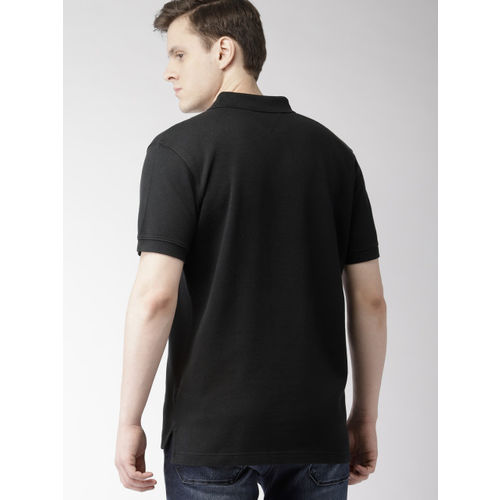 Tommy Hilfiger Men Black Solid Polo Collar T-shirt
