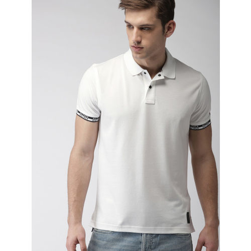 Tommy Hilfiger Men White Solid Polo Collar T-shirt