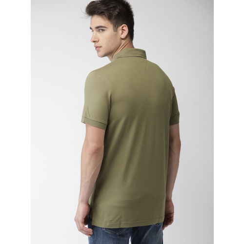 Tommy Hilfiger Men Olive Green Solid Polo T-shirt