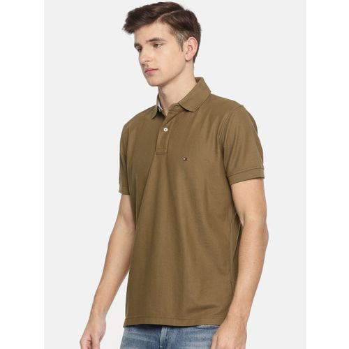 Tommy Hilfiger Men Khaki Solid Polo Collar T-shirt