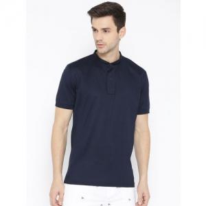 Tommy Hilfiger Men Navy Blue Solid Slim Collar T-shirt