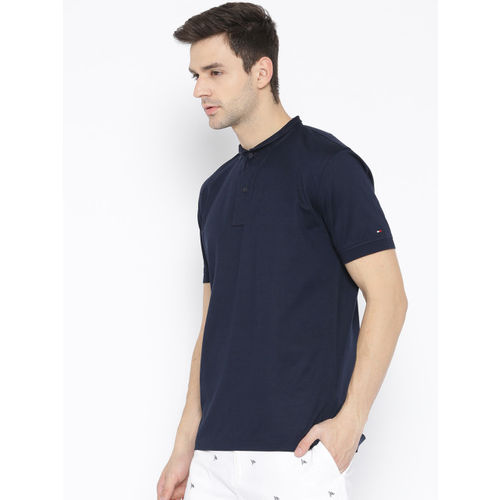 Tommy Hilfiger Men Navy Blue Solid Slim Collar T-shirt