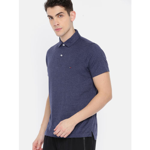 Tommy Hilfiger Men Navy Blue Slim Fit Solid Polo Collar T-shirt