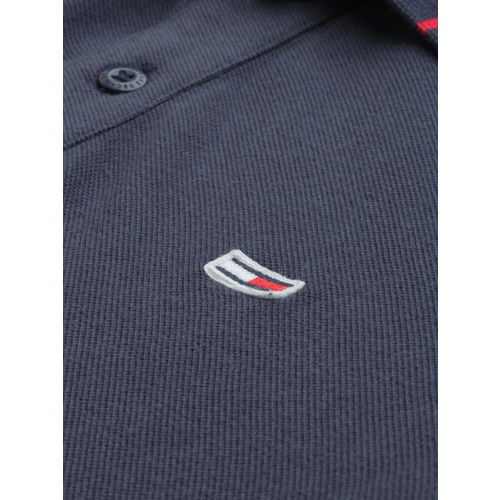 Tommy Hilfiger Men Navy Blue Solid Polo Collar T-shirt