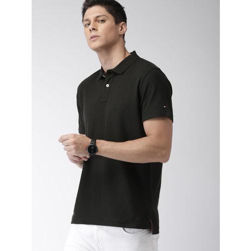 Tommy Hilfiger Men Black Solid Regular Fit Polo Collar T-shirt