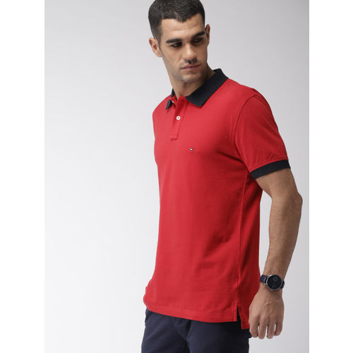 Tommy Hilfiger Men Red Printed Polo Collar T-shirt