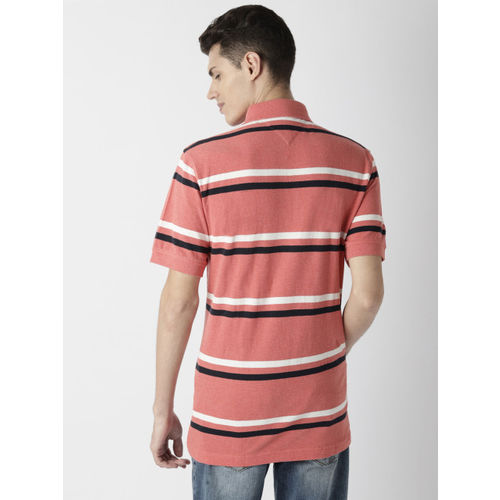 Tommy Hilfiger Men Coral Pink Striped Polo Collar T-shirt