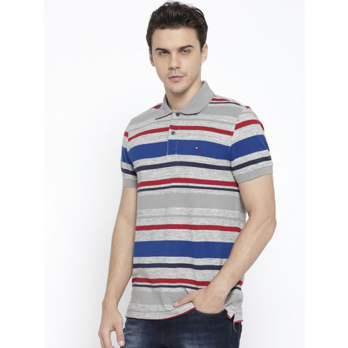 Tommy Hilfiger Men Grey & Blue Striped Polo Collar T-shirt