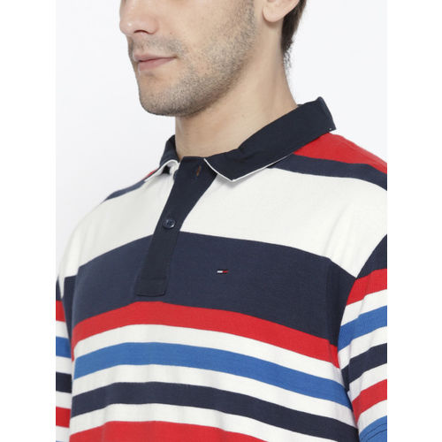 Tommy Hilfiger Men Navy & White Striped Oversized Fit Polo Collar T-shirt