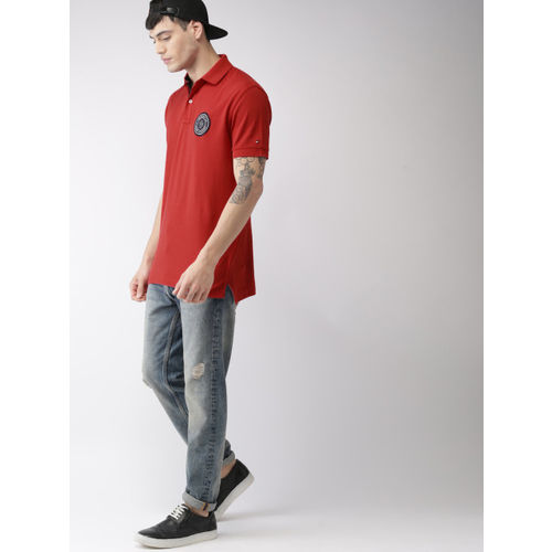 Tommy Hilfiger Men Red Solid Polo Collar T-shirt