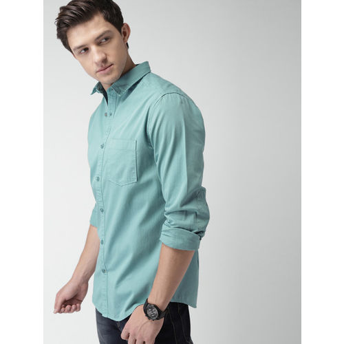 Mast & Harbour Men Blue Classic Slim Fit Solid Casual Shirt