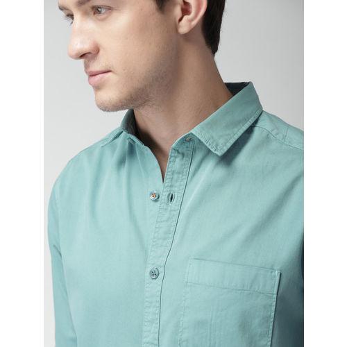 Mast & Harbour Men Blue Classic Slim Fit Solid Casual Shirt