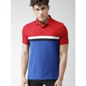 255cf48d9 Buy Tommy Hilfiger White Cotton Colour Blocked Polo Collar T-shirt ...