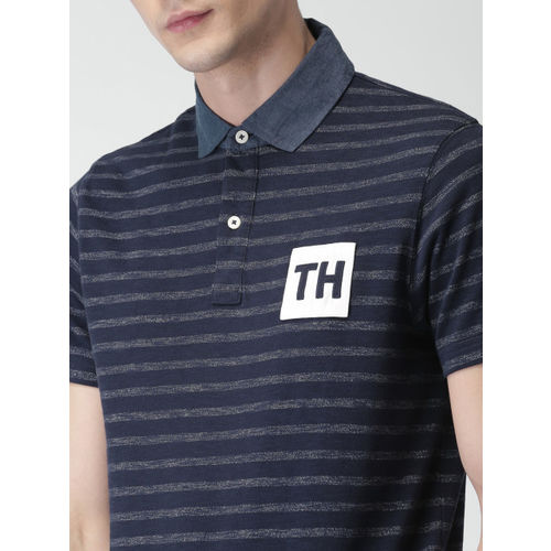 Tommy Hilfiger Men Navy Striped Polo Collar T-shirt