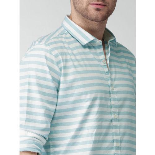 Mast & Harbour Men Blue & White Striped Casual Shirt