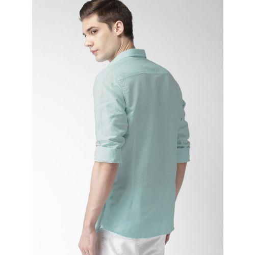 Mast & Harbour Men Blue Slim Fit Linen Casual Shirt