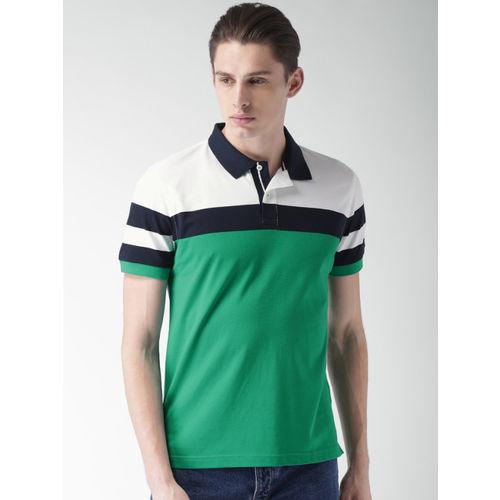 Tommy Hilfiger Men Green & White Colourblocked Polo Collar T-shirt