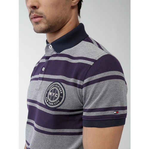Tommy Hilfiger Men Navy Blue Solid Striped Polo T-shirt