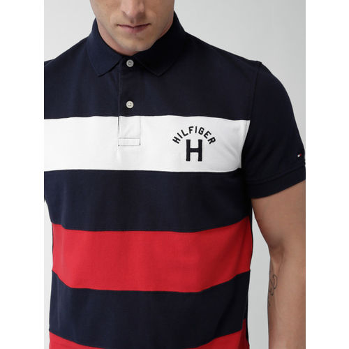 Tommy Hilfiger Navy Blue & Red Striped Polo T-Shirt
