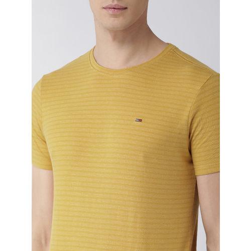 Tommy Hilfiger Men Mustard Yellow Striped Round Neck T-shirt