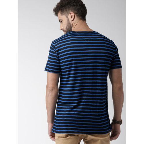 Tommy Hilfiger Men Blue & Black Striped Round Neck T-Shirt